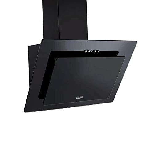 Glen 60cm 1000m3/hr Glass Vertical Kitchen Chimney Push Buttons Baffle Filter (6079, Black)