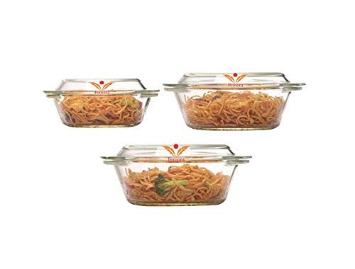 Femora Borosilicate Glass Round Casseroles, Microwave Safe - 700ML, 1000ML,1550ML (Set of 3)