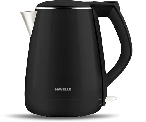 Havells Aqua Plus 1.2 litre Double Wall Kettle / 304 Stainless Steel Inner Body / Cool touch outer body / Wider mouth/ 2 Year warranty (Black, 1500 Watt)