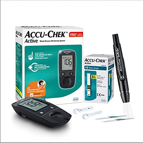 Accu-Chek Active Blood Glucose Glucometer Kit With Vial Of 10 Strips, 10 Lancets And A Lancing Device Free For Accurate Blood Sugar Testing