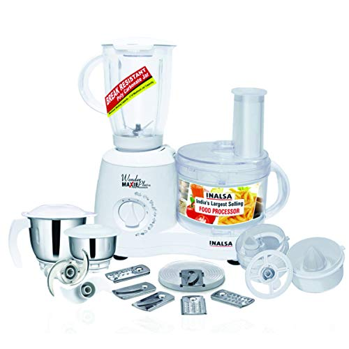 Inalsa Food Processor Wonder Maxie Plus V2 700 - Watt with Blender Jar, Dry Grinding Jar, Chutney Jar, 11 Accessories| 5 Yr. Warranty on Motor | Citrus and Centrifugal Juicer | Made in India | (White)