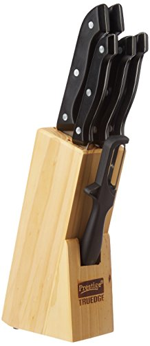 Prestige Tru-Edge Kitchen Knife Set with Wooden Block and Free Peeler, 5-Pieces, Black