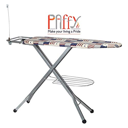 PAffy Steel Folding Ironing Board with Tray/Wire Manager and Aluminised Surface