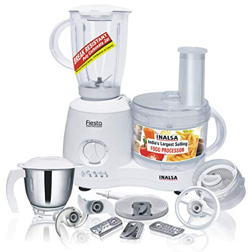 Inalsa Food Processor Fiesta 650-Watt with Break Resistant Processing Bowl, Blender, Dry Grinding Jar, 12 Accessories 5 Yr Warranty on Motor, Centrifugal Juicer, Made in India (White, Grey)