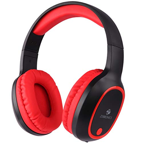 Zebronics Zeb-Thunder Wireless BT Headphone Comes with 40mm Drivers, AUX Connectivity, Built in FM, Call Function, 9Hrs* Playback time and Supports Micro SD Card (Red)