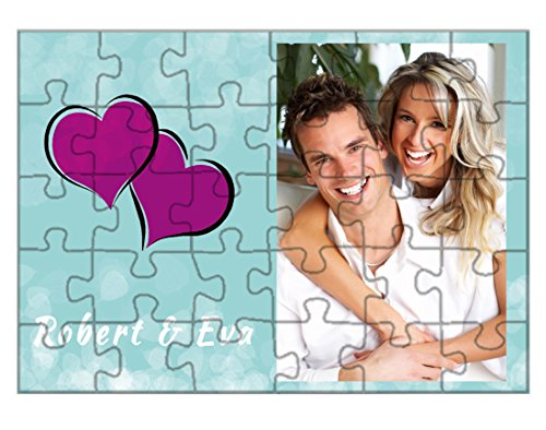 Pyramidmart Personalised Wooden Photo Jigsaw Puzzle Photo Frame - 6' x 8' - 30 Pieces - With Wooden Frame - Customize with Your Photos & Messages