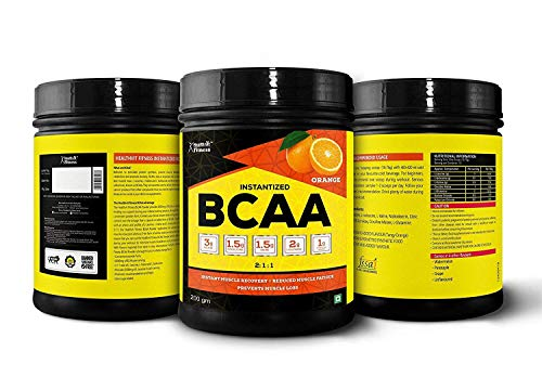 Healthvit Fitness BCAA 6000mg 2:1:1 with L-Glutamine & L-Citrulline Malate, 200g (10 Servings) Orange Flavor
