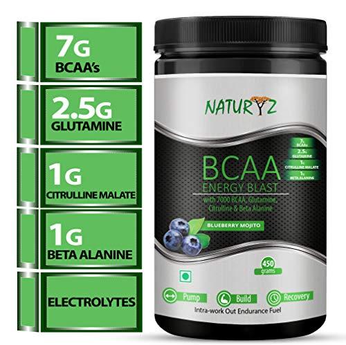 Naturyz Instantized BCAA Energy Blast with 7000 BCAA, Glutamine, Citrulline & Beta Alanine (Blueberry Mojito Flavor) - 450Gms