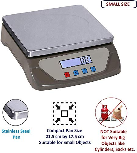 MEDITIVE Digital Kitchen Weighing Scale 25 Kg with White Backlight Display, Small Platform Size for Home Use