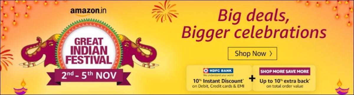 Amazon Great Indian Sale Festival Offers Today : 2nd-5th Nov 2019
